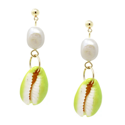 Color Pop Edition: Freshwater Pearl With Paint Dipped Puka Shell Drop Earrings