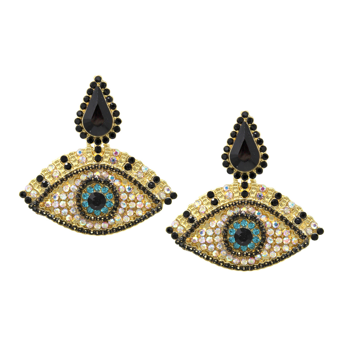 Rhinestone Pave Evil Eye Earrings
