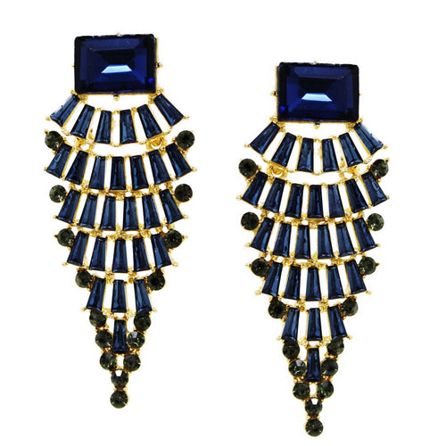 Rectangular Glass Stone Pave Pointed Statement Earrings