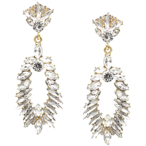 Glass Stone Pave Drop Statement Earrings