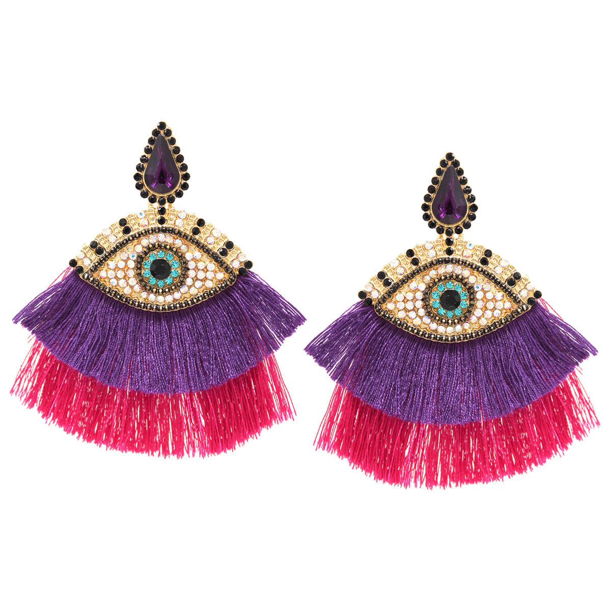 Rhinestone Pave Evil Eye With Tassel Fringe Statement Earrings