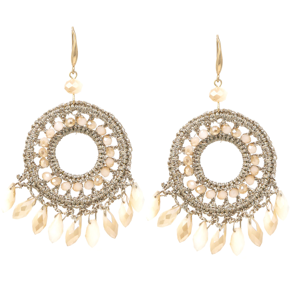 Teardrop Glass Bead Fringe Crochet Disc Drop Earrings