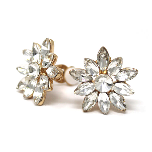 Marquise Glass Stone Pave Flower Stud Clip On Earrings