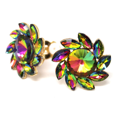 Marquise Shape Glass Stone Pave Flower Stud Clip On Earrings
