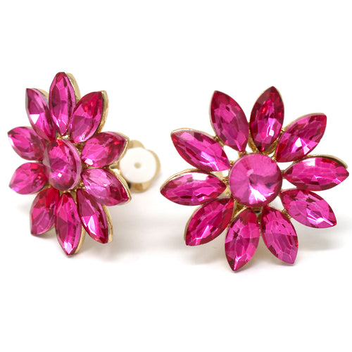 Glass Stone Pave Flower Stud Clip On Earrings