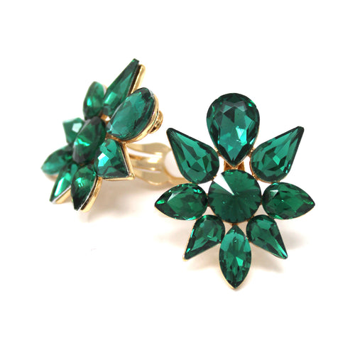 Glass Stone Cluster Stud Clip On Earrings