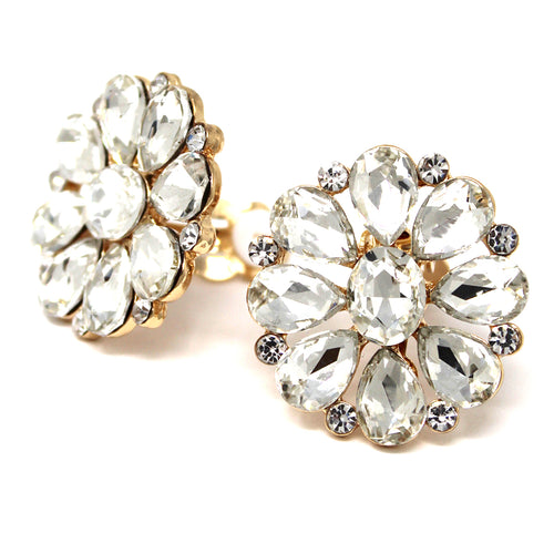 Glass Stone Pave Floral Stud Clip On Earrings
