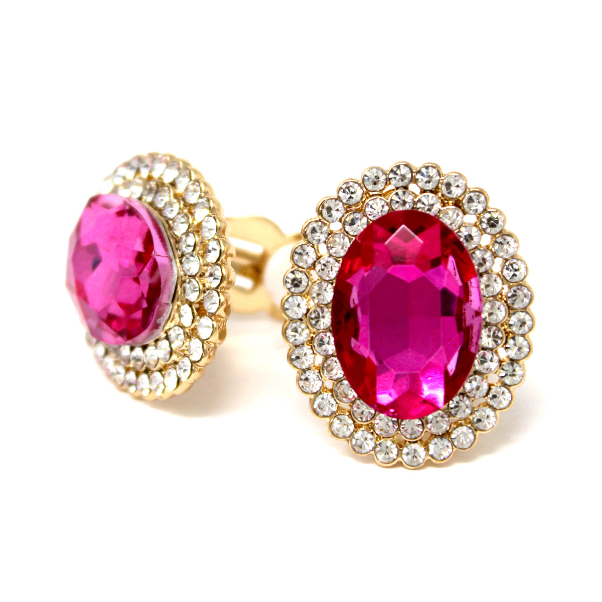 Glass Stone Pave Oval Shape Stud Clip On Earrings