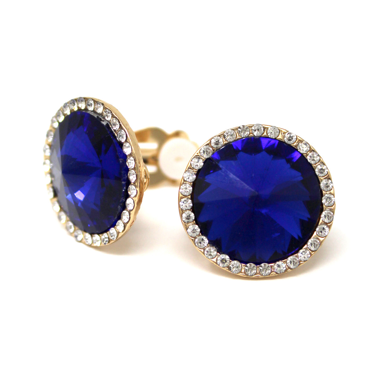 Round Pointed Glass Stone Stud Clip On Earrings