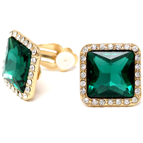 Square Shape Glass Stone Stud Clip On Earrings