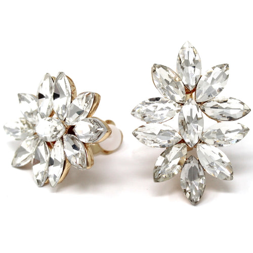 Marquise Shape Glass Stone Cluster Stud Clip On Earrings