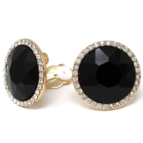 Round Glass Stone Stud Clip On Earrings