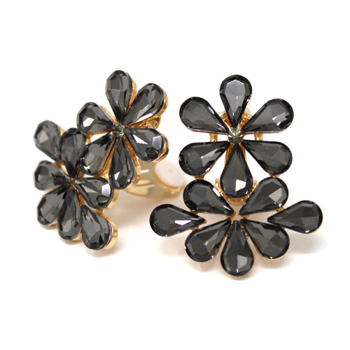 Teardrop Glass Stone Pave Floral Stud Clip On Earrings