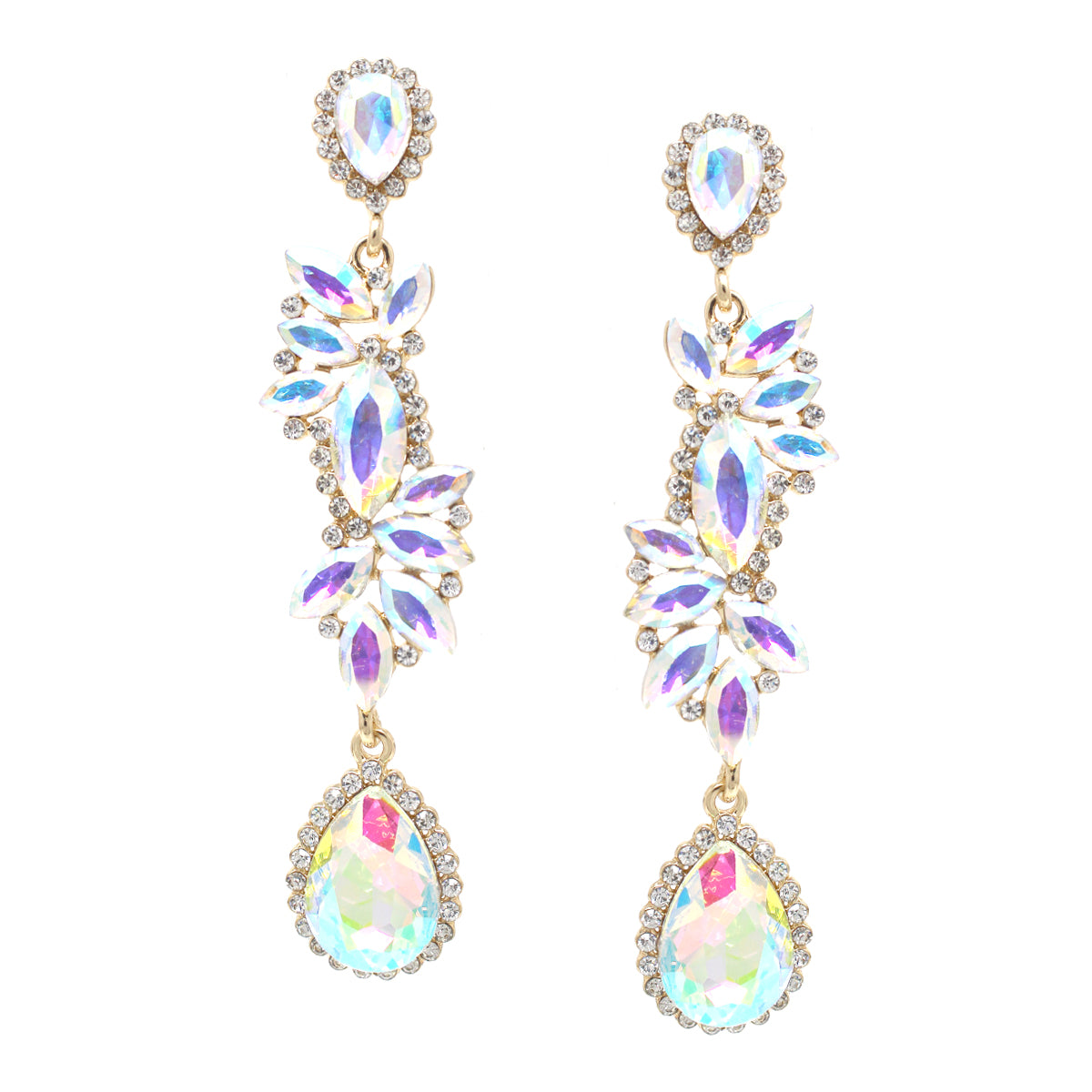 Marquise Stone Cluster With Teardrop Statement Earrings