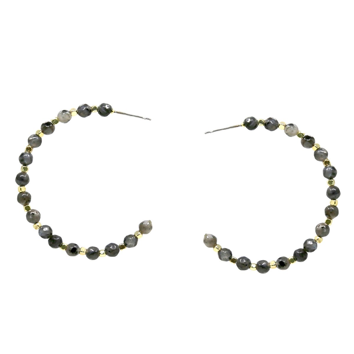 Natural Stone Beaded Hoop Earrings (45mm)