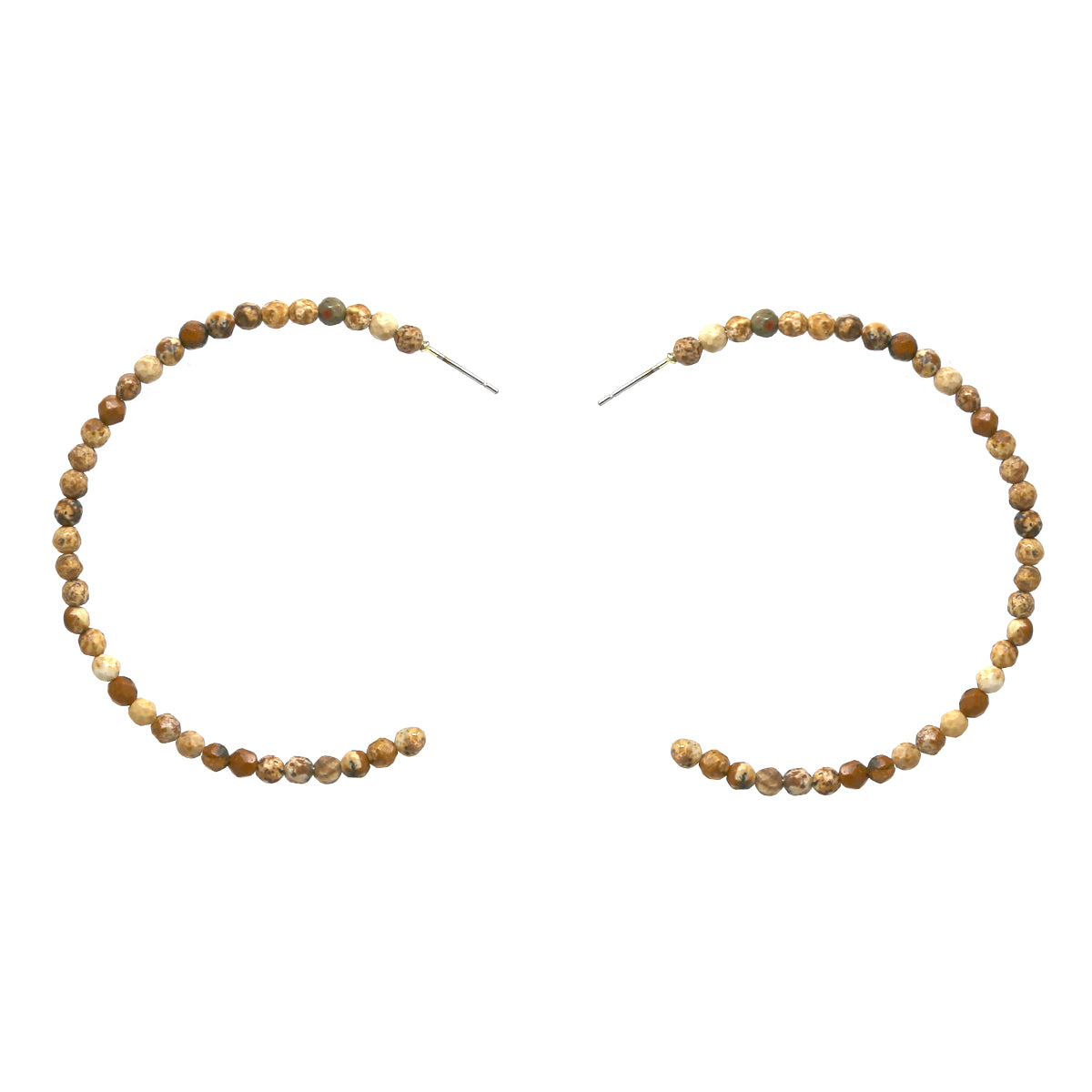 Natural Stone Beaded Hoop Earrings (60mm)