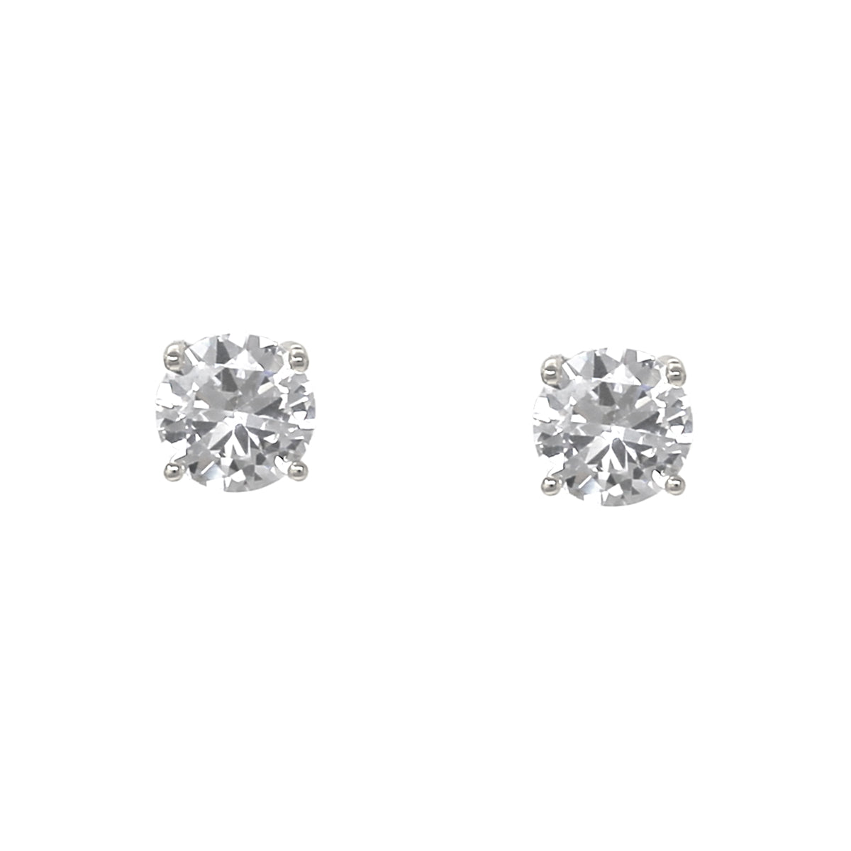 Round Cubic Zirconia Stud Earrings (10 mm)