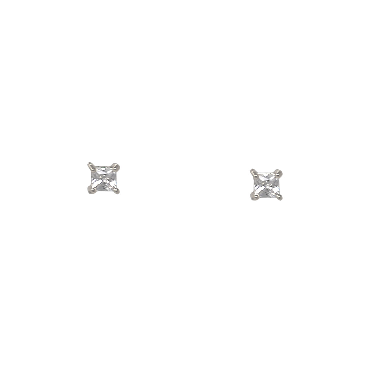 Square Cubic Zirconia Stud Earrings (4 mm)