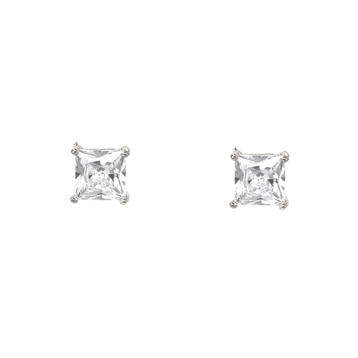 Square Cubic Zirconia Stud Earrings (9 mm)