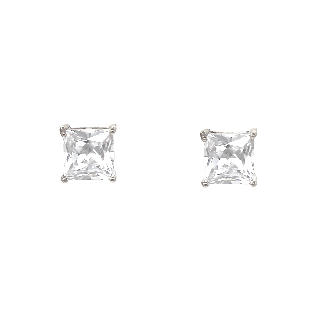 Square Cubic Zirconia Stud Earrings (10 mm)