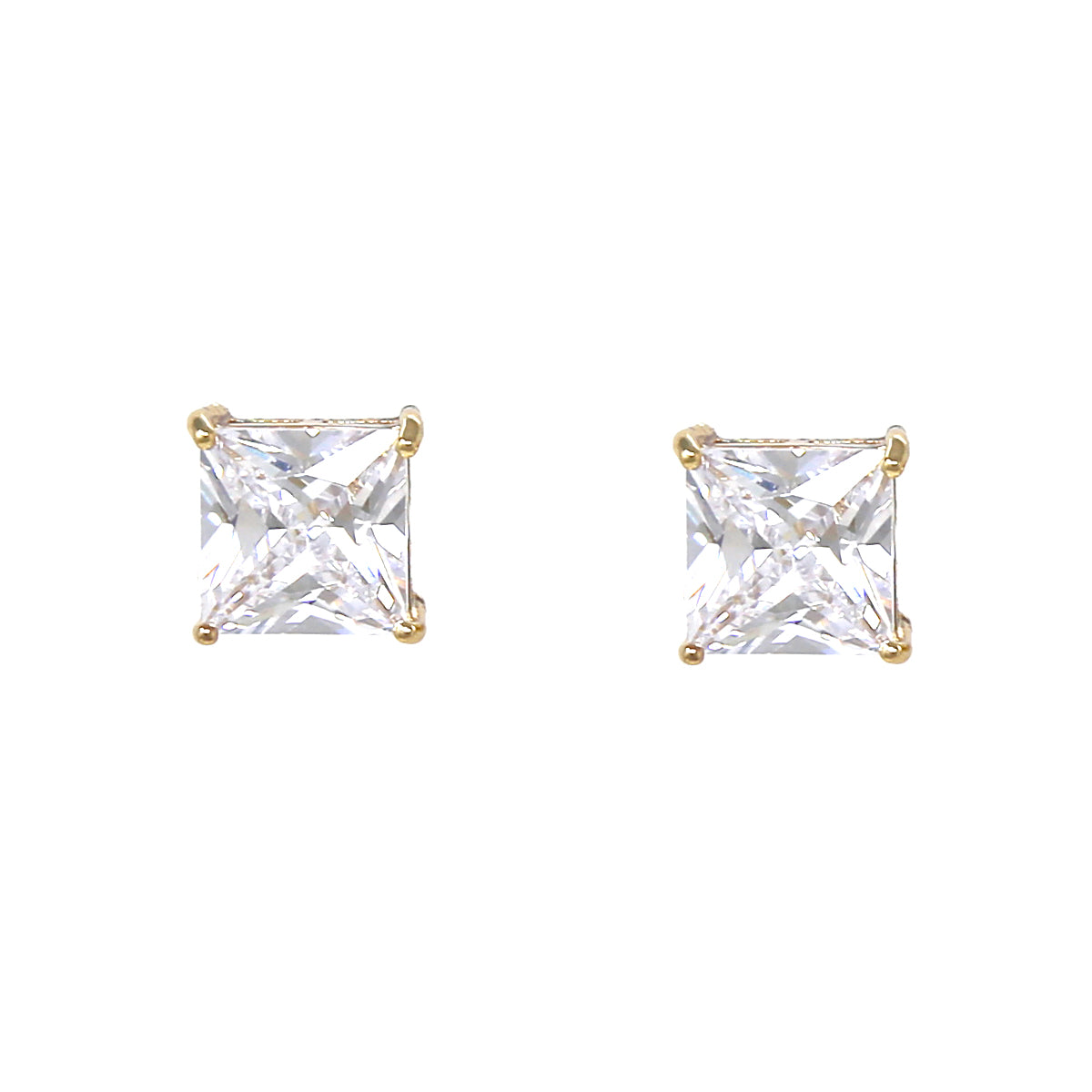 Square Cubic Zirconia Stud Earrings (13 mm)