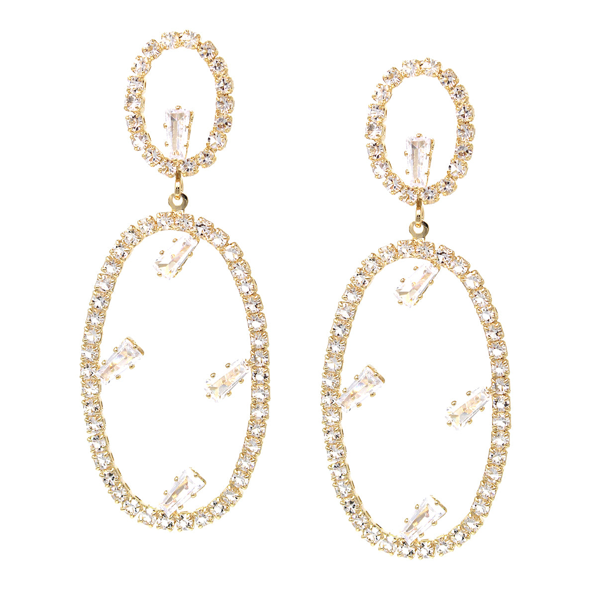 Cubic Zirconia Pave Oval Hoop Drop Earrings
