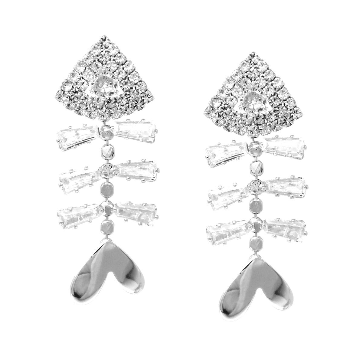 Cubic Zirconia Pave Fish Bone Drop Earrings
