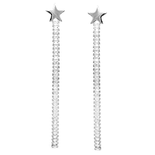 Star Metal Emerald Cut CZ Pave Long Drop Earrings