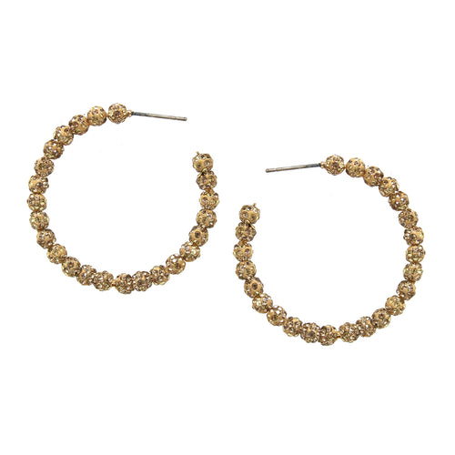 Rhinestone Pave Ball Beaded Hoop Earrings (40 mm)