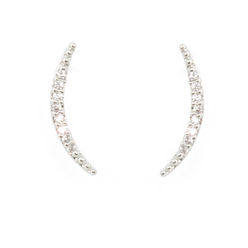Cubic Zirconia Crescent Moon Stud Earrings