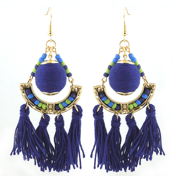 Thread Ball with Tassel Earrings