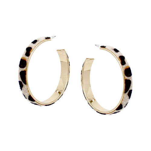 Animal Print Faux Leather Embellished Hoop Earring