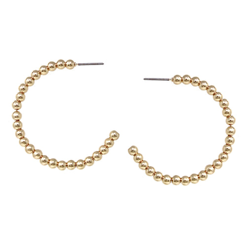 Shiny Metal Beaded Hoop Earrings (40 mm)