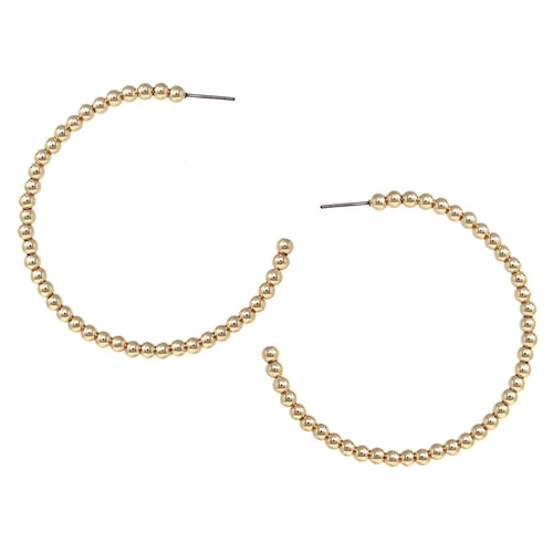 Shiny Metal Beaded Hoop Earrings (60 mm)