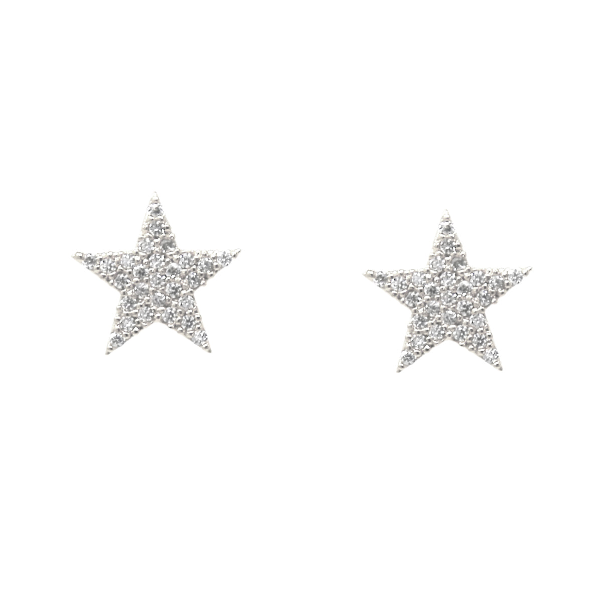 Cubic Zirconia Pave Star Stud Earrings