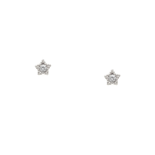 Cubic Zirconia Pave Little Star Stud Earrings