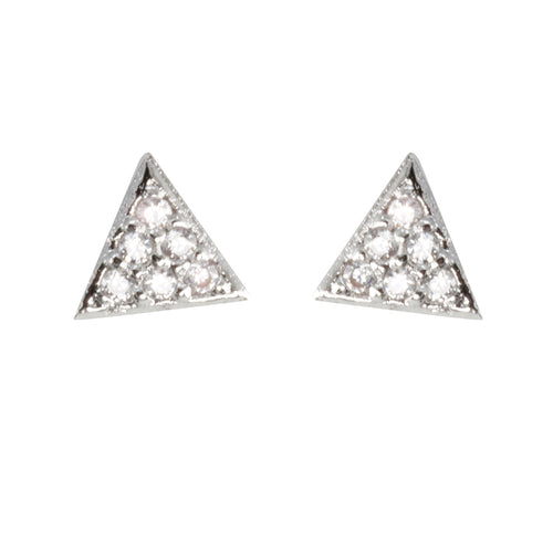 Paved Triangle Cubic Zirconia Mini Stud Earrings