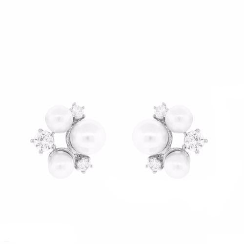 Cubic Zirconia  Pearl Bead Pave Stud Earrings