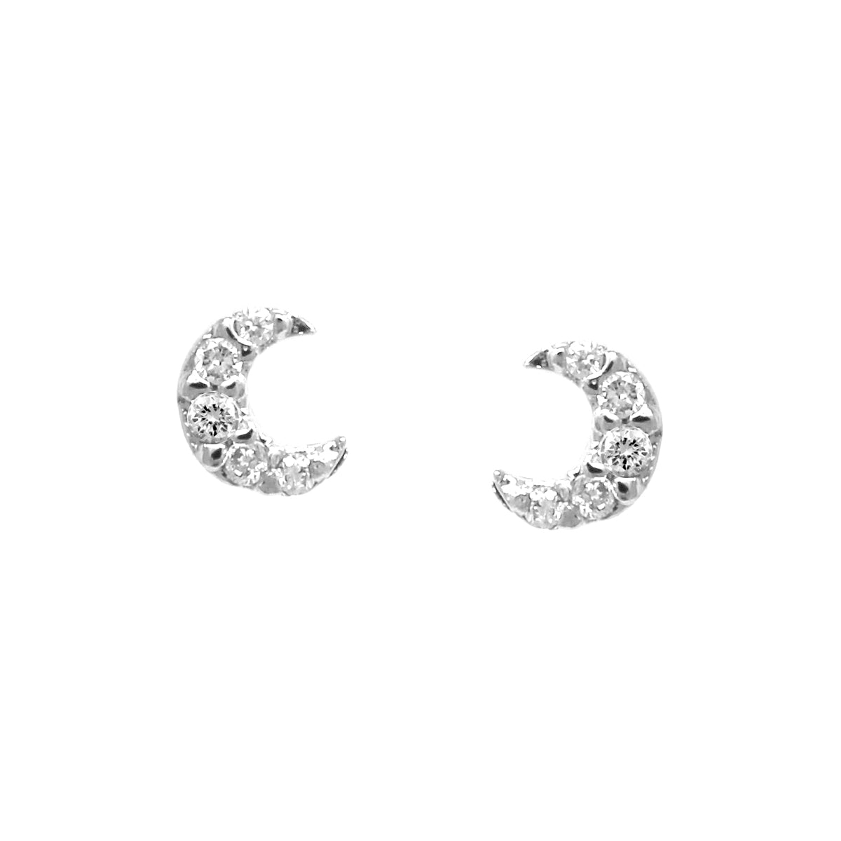 Cubic Zirconia Pave Tiny Crescent Moon Stud Earrings