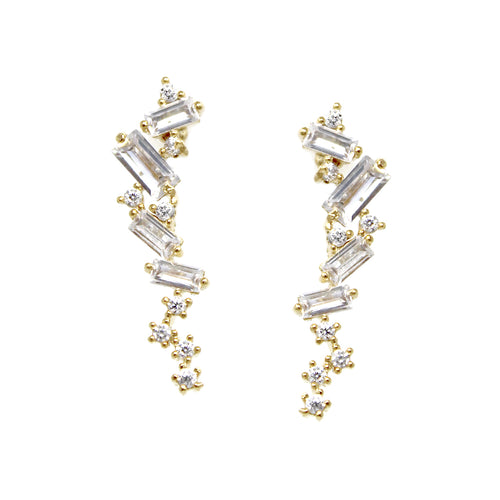 Cubic Zirconia Pave Gold Dipped Stud Earrings