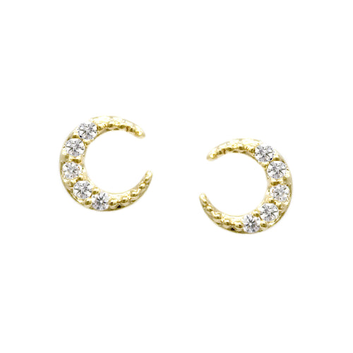 Cubic Zirconia Pave Crescent Moon Stud Earrings