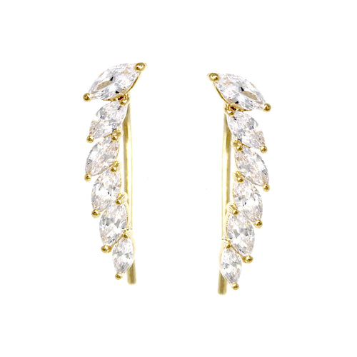 Marquise Cubic Zirconia Pave Gold Dipped Earrings
