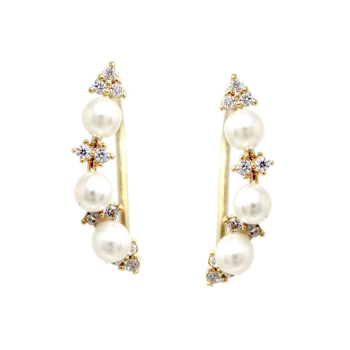Pearl Bead Cubic Zirconia Pave Ear Crawlers