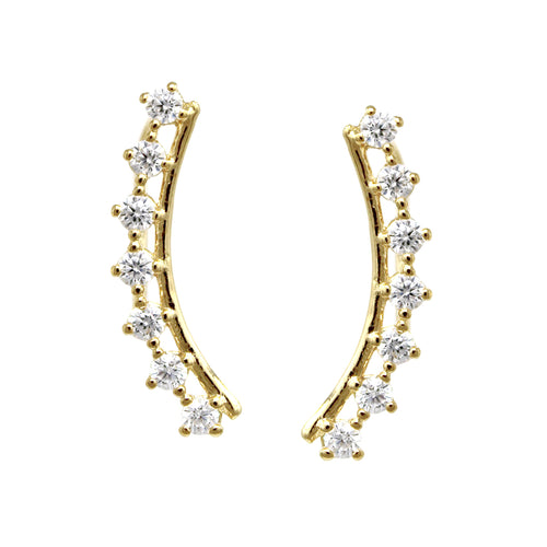 Cubic Zirconia Pave Curved Metal Bar Ear Crawlers