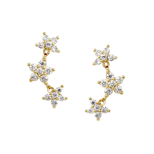 Cubic Zirconia Pave Triple Star Gold Dipped Stud Earrings
