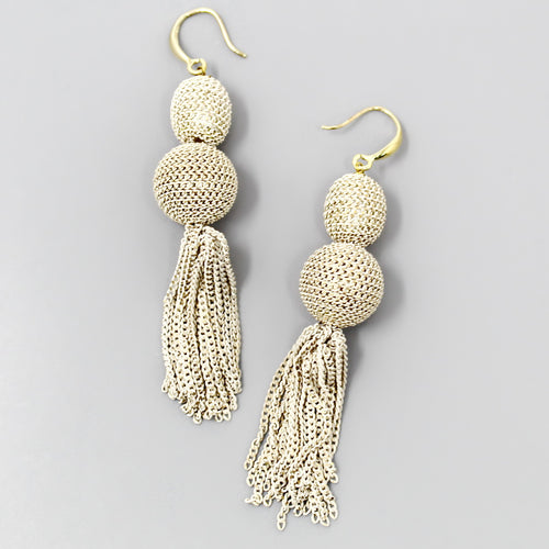 Chain Wrapped Double Ball Drop Earrings With Chain Tassel