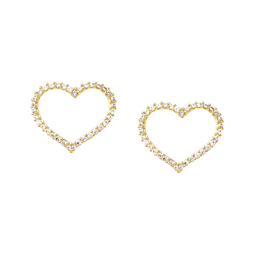 Cubic Zirconia Paved Skinny Heart Stud Earrings