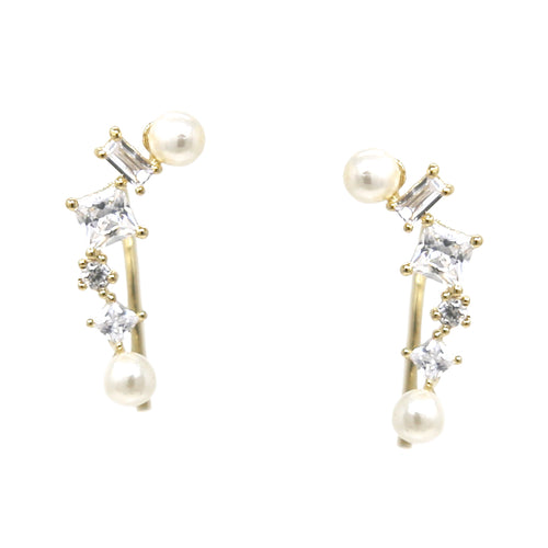 Pearl Bead Cubic Zirconia Pave Stud Earrings