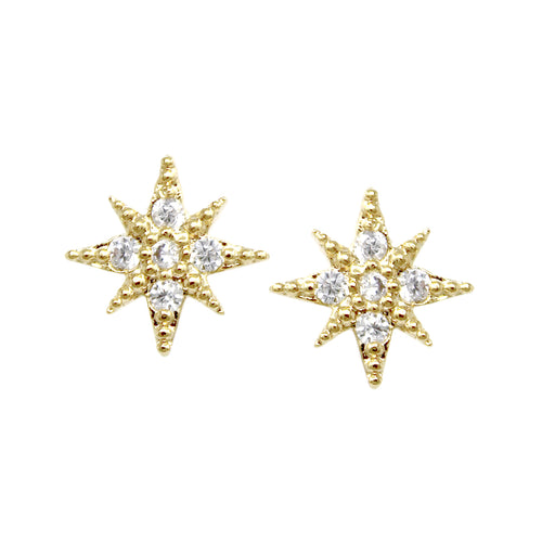 Cubic Zirconia Pave Starburst Stud Earrings