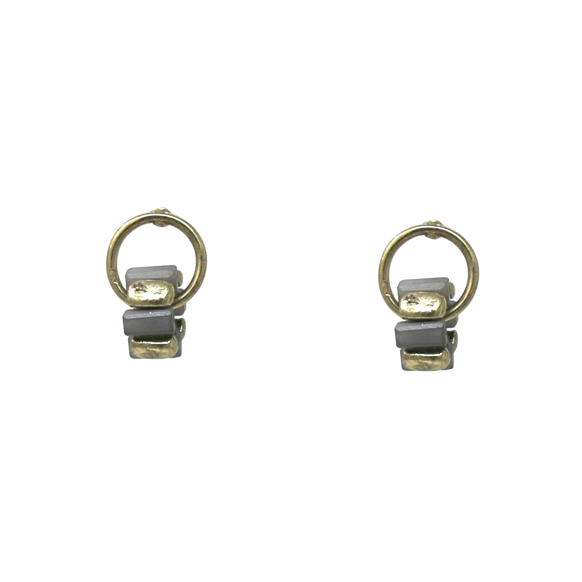 Rectangle Glass Bead Embellished Mini Hoop Stud Earrings